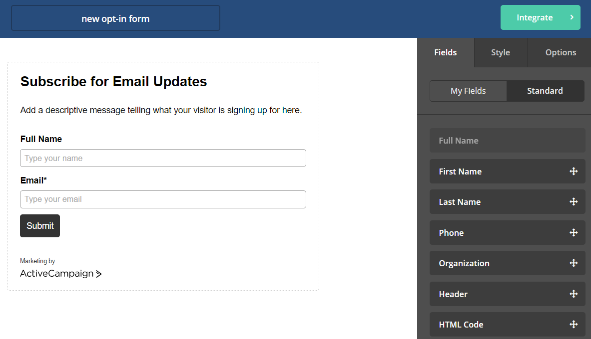 ActiveCampaign Opt-In Form