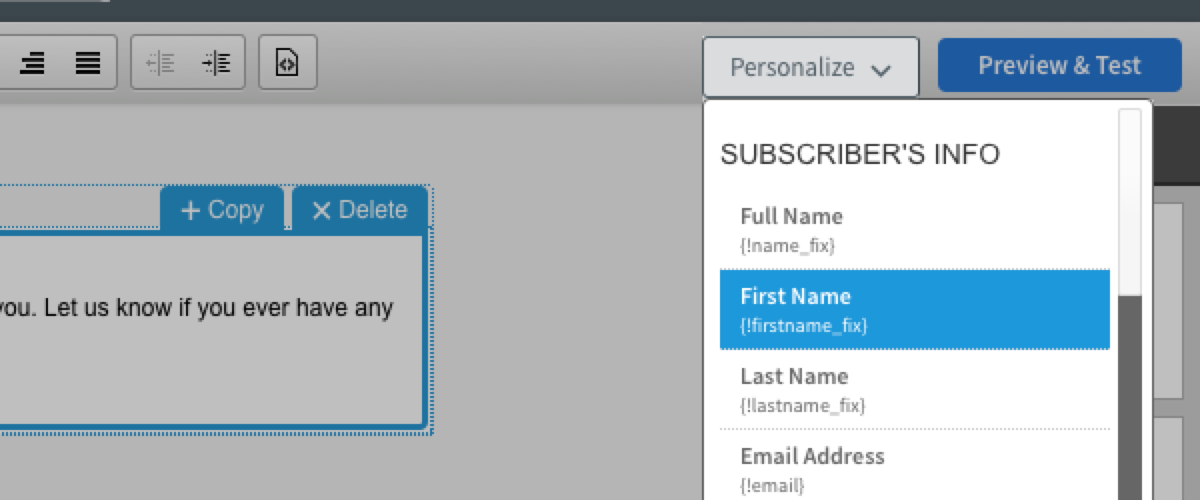 Aweber Email Personalization